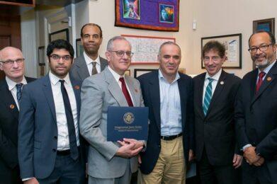 L to R: Eugene Meyer, Akshay Indusekar, Robert Teachey, David Mehler, Former World Chess Champion Garry Kasparov, Representative Jamie Raskin, Dr. Derrick Cogburn