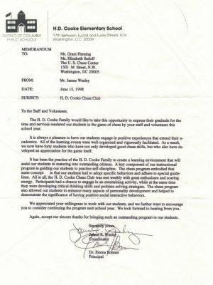 1998-06-15 Letter FR Dr. Emma Bonner, HD Cooke ES