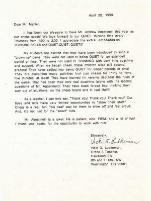 1999-04-22 Letter FR Vicki Lubkeman, Cleveland ES