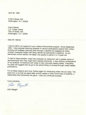 1999-04-29 Letter FR Josh Meggitt