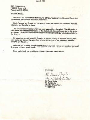 1999-06-04 Letter FR Wheatley Chess Team
