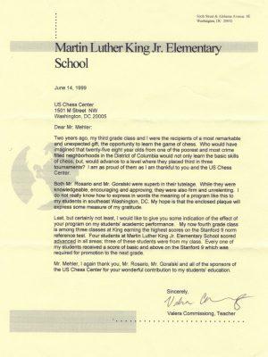 1999-06-14 Letter FR Valera Commissiong, MLK Jr ES