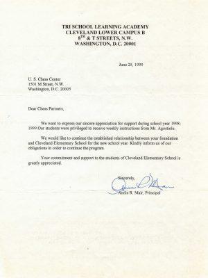 1999-06-25 Letter FR Annie Mair, Tri School Learning Academy