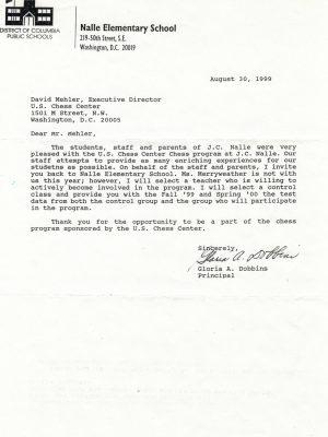 1999-08-30 Letter FR Gloria Dobbins, Nalle ES