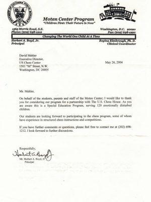 2004-05-26 Letter FR Herbert Boyd, Jr., Moten Center Program