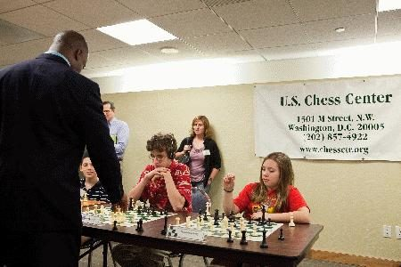 GM Maurice Ashley playing a simultaneous exhibition at the U.S. Chess Center