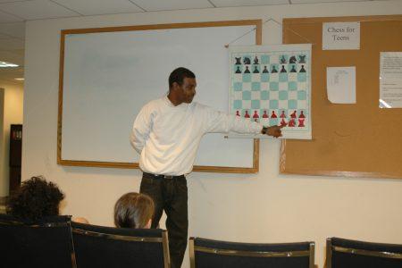 Ron Jones teaching chess